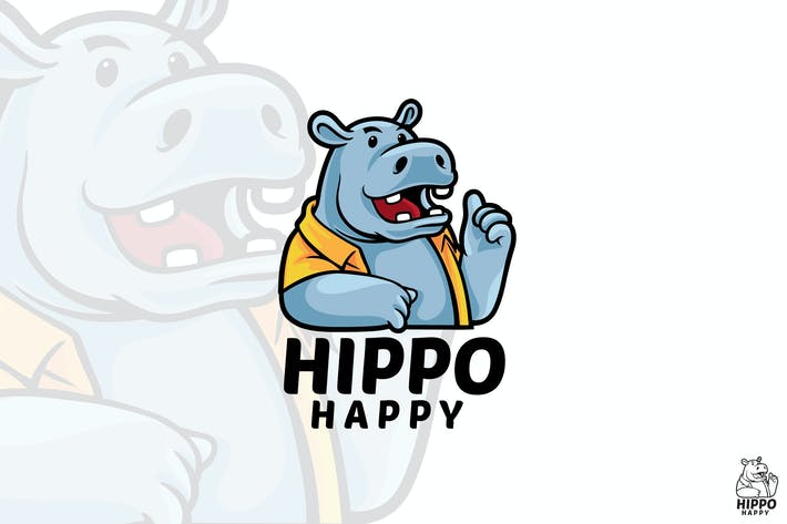 Thumbnail for Hippo Happy Mascot Logo
