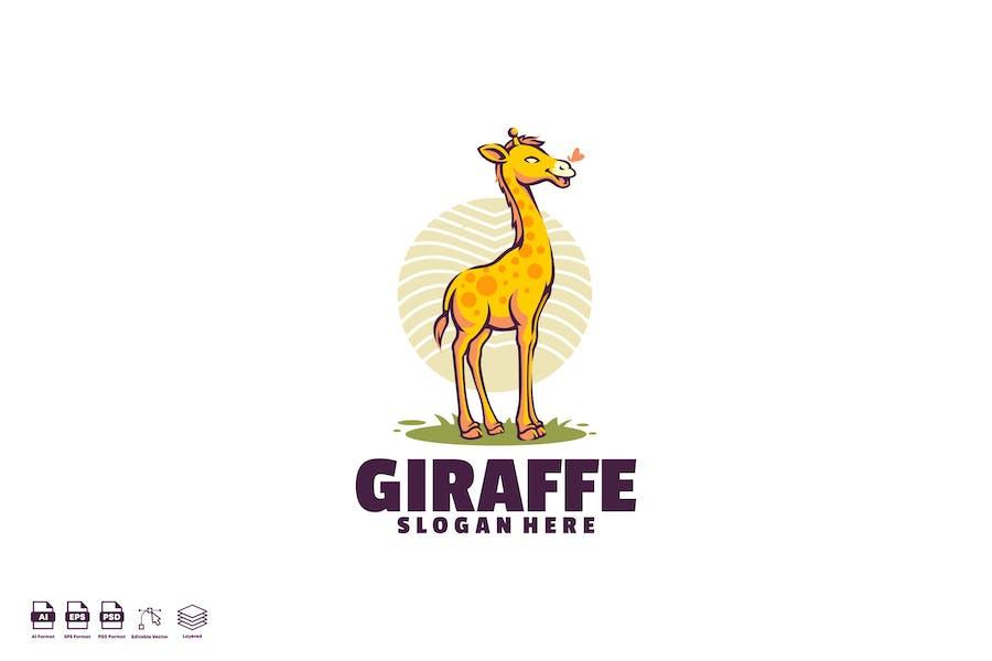 giraffe cute logo template