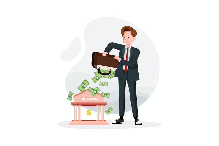 Thumbnail for Businessman pays taxes from a bag money
