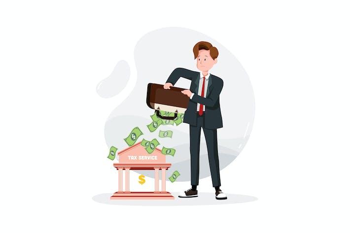 Thumbnail for Geschäftsmann zahlt Steuern aus einer Tasche Geld