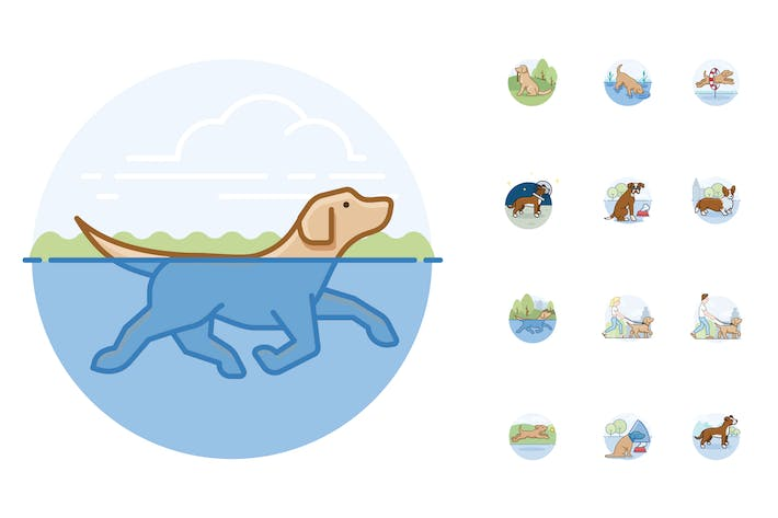 Thumbnail for 12 Dog Activity Icons