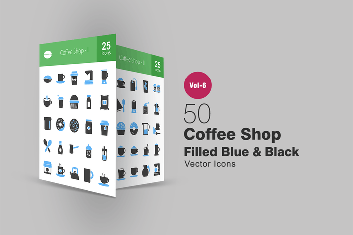 Thumbnail for 50 Coffee Shop Blue & Black Icons