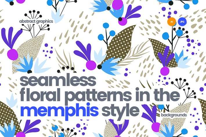 Thumbnail for Seamless Floral Patterns in the Memphis Style