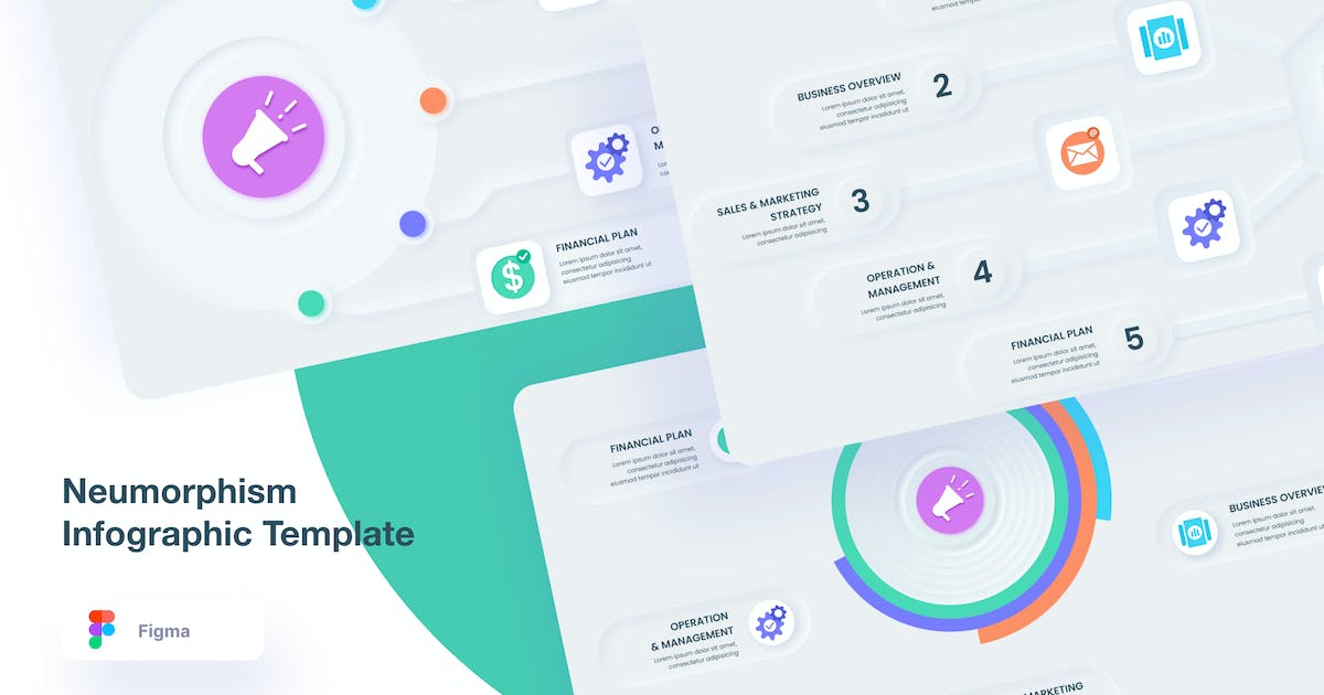 Neumorphism Infographic Template by GranzCreative