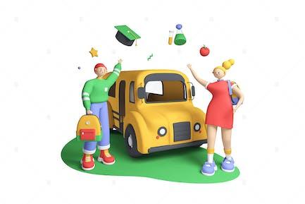 Reunión en el autobús escolar - Ilustración 3D
