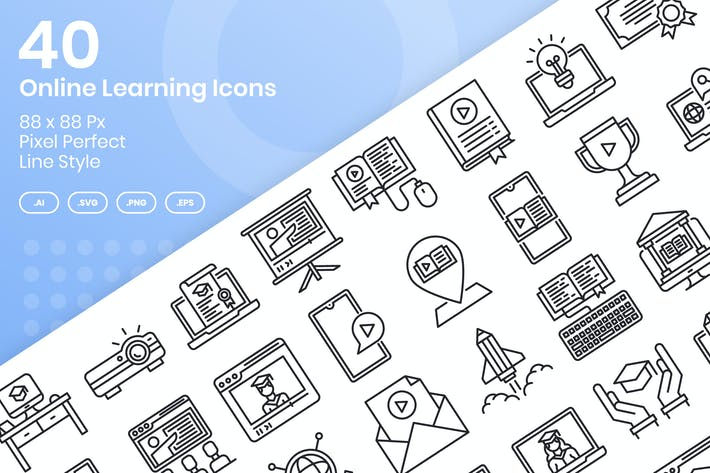 Thumbnail for 40 Online Learning Icons Set - Line