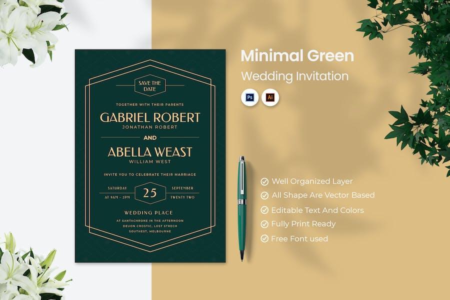 Minimal Green Wedding Invitation