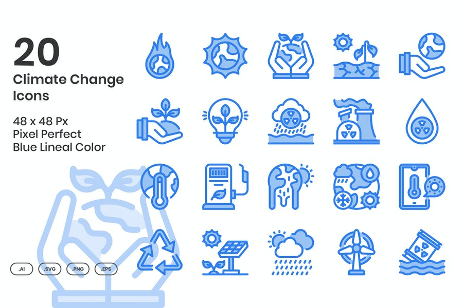 20 Climate Change Icons set - Blue Lineal Color