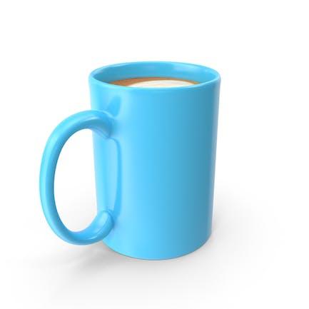 Blaue Tasse mit Cappuccino