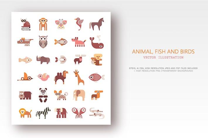Thumbnail for Animaux, poissons et oiseaux ensemble d'Icônes Vecteur plates