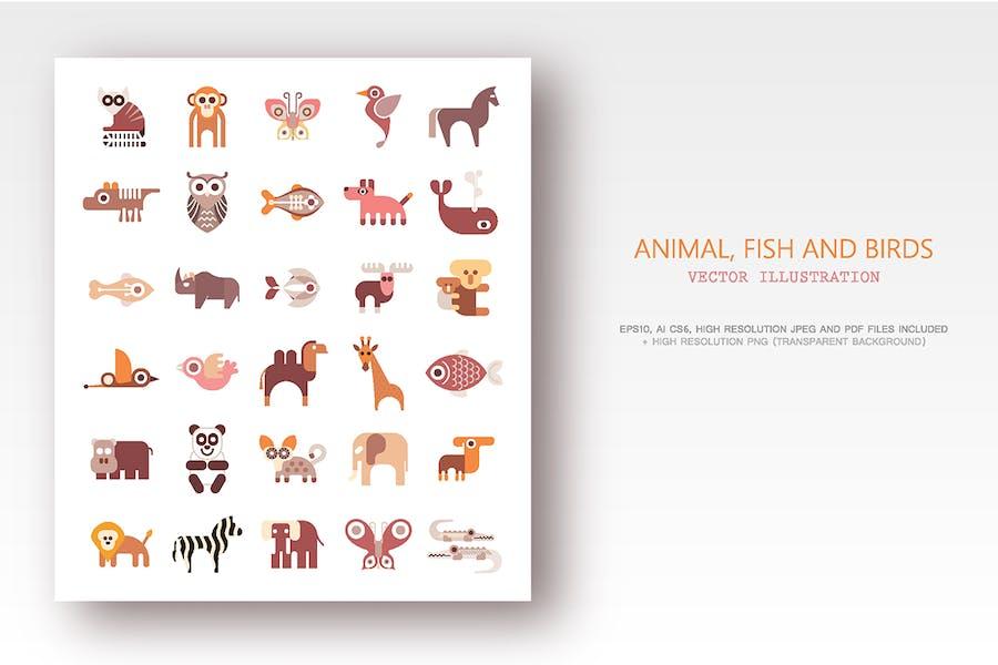 Животные, Рыбы и Птицы набор плоских векторные значки