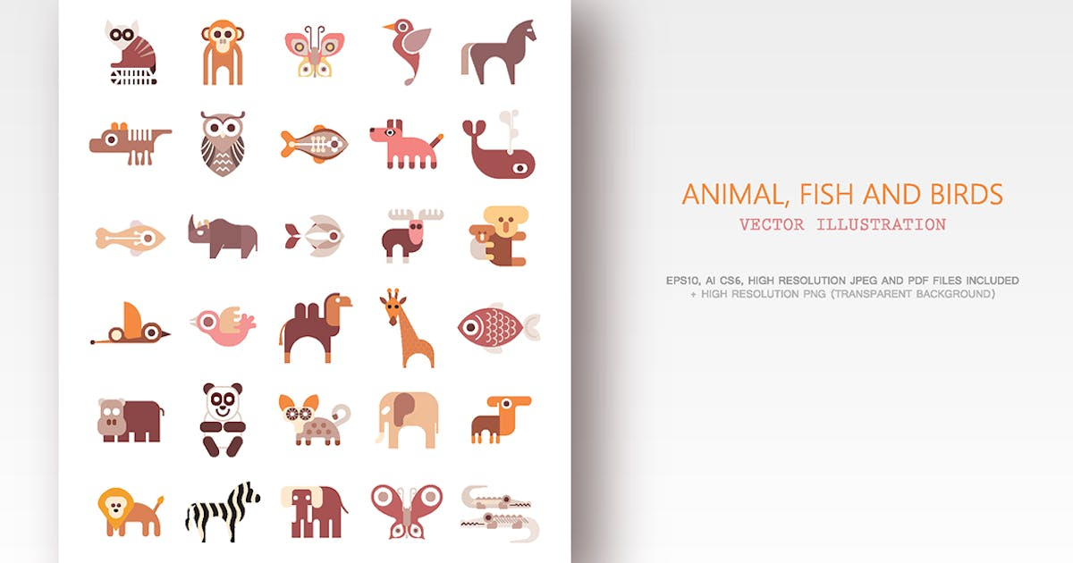 Download Animals, Fish and Birds set of flat vector icons by danjazzia