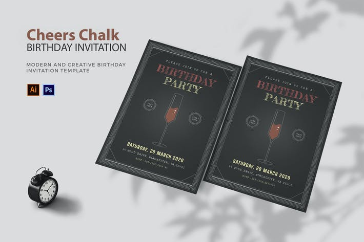 Cheers Chalk - Birthday Invitation