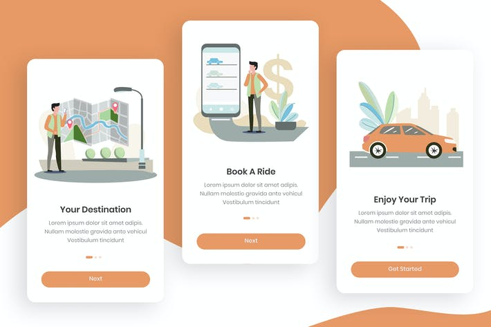Cover Image For Car Booking Onboarding App Screens