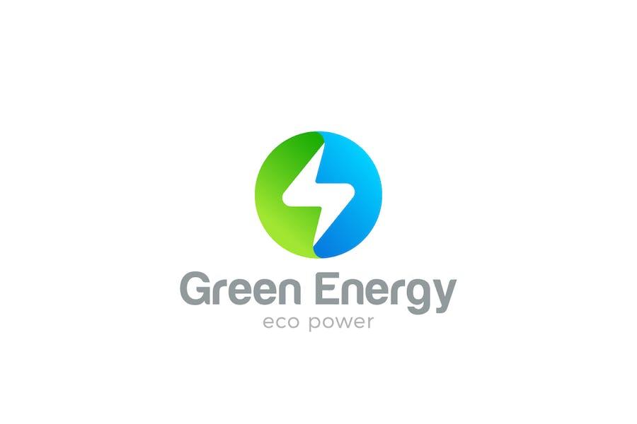Logo Flash Circle shape Green Energy Power