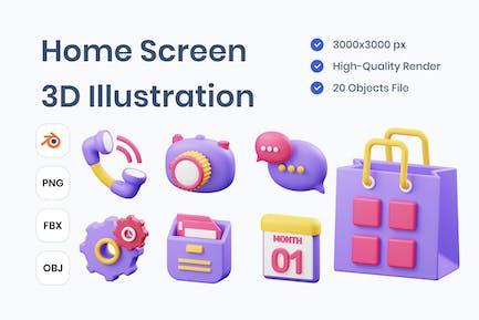 Home Screen 3D Illustration