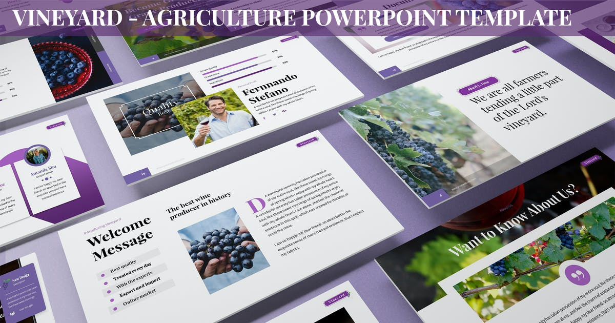 Download Vineyard - Agriculture Powerpoint Template by SlideFactory