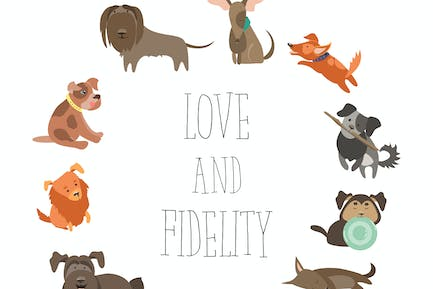 Set of funny Mixed Breed dogs. Vector