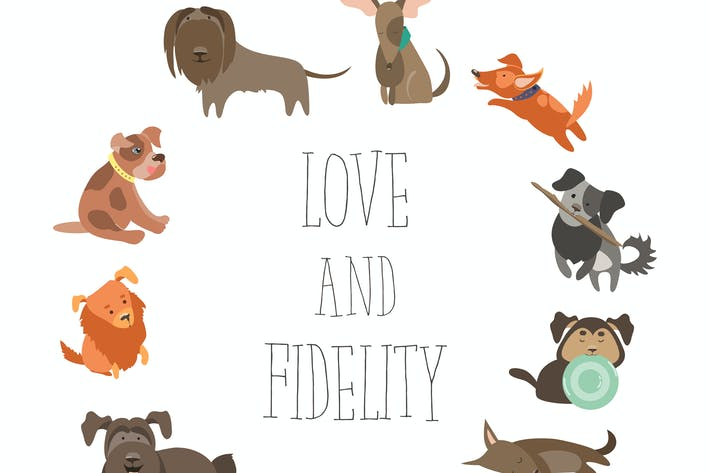 Thumbnail for Set of funny Mixed Breed dogs. Vector