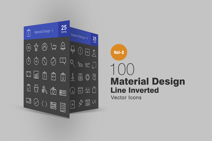 100 Material Design Line Inverted Icons