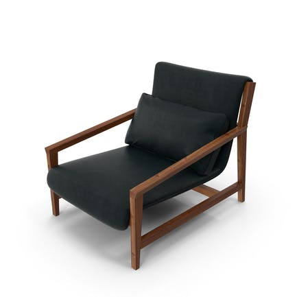 Dark Wood and Leather Arm Chair