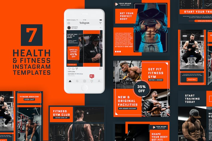 Thumbnail for Health & Fitness Instagram Templates