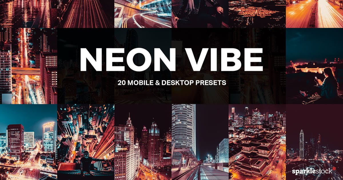 Download 20 Neon Vibe Lightroom Presets and LUTs by sparklestock
