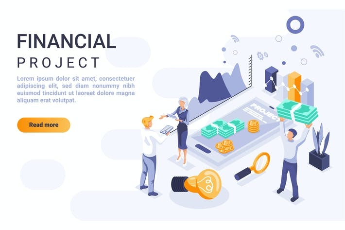 Thumbnail for Financial Project Isometric Header Flat Concept
