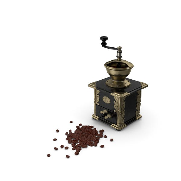Molinillo de café antiguo con granos de café