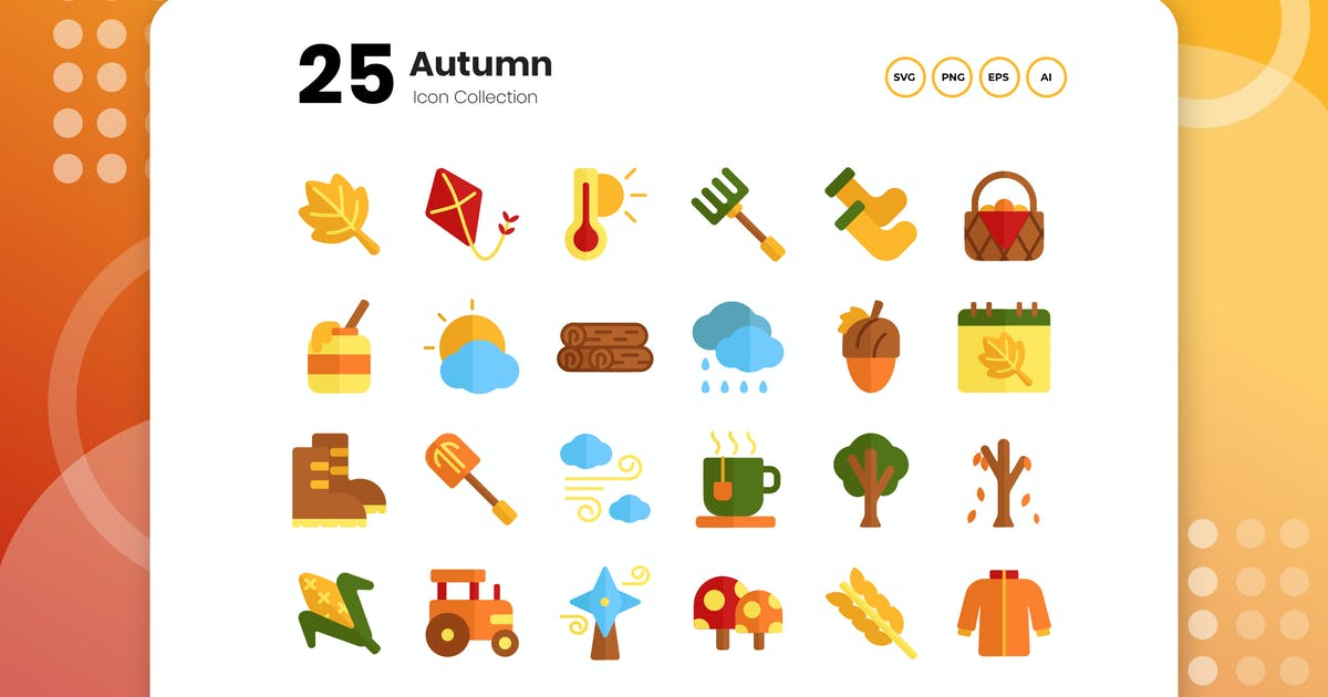 Download 25 Autumn Flat Icon by vectorclans
