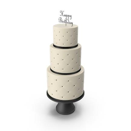Cascade Kuchen mit Dekor aus schwarzem Band und Topper Happy Birthday