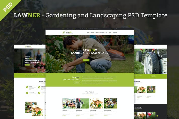 Lawner - Gardening and Landscaping PSDTemplate