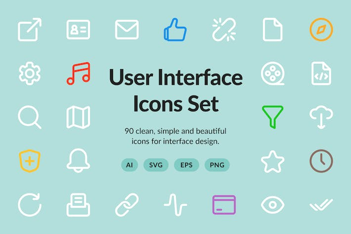 Thumbnail for User Interface Vector Set (90 icons)