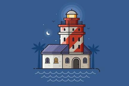 Roter Leuchtturm bei Nacht in Linienkunst Flat Design