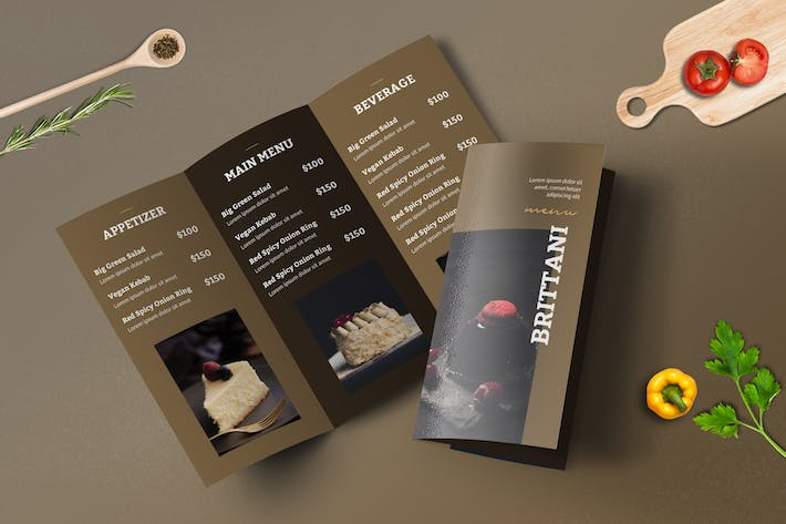 Thumbnail for Trifold Restaurant Menu Template