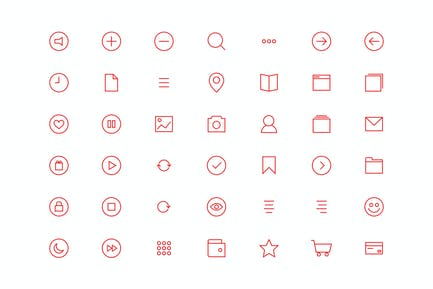 Glyph Red Icons