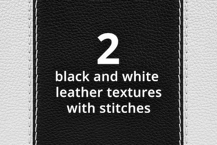 Zwei schwarz-weiße Ledertexturen mit Stichen