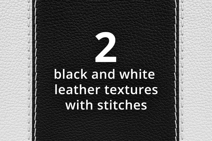 Thumbnail for Two black and white leather textures with stitches