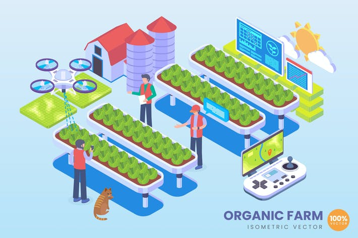 Thumbnail for Isometric Organic Farm Technology Vector Concept