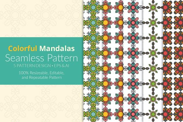 Colorful Mandalas Seamless Pattern Pack