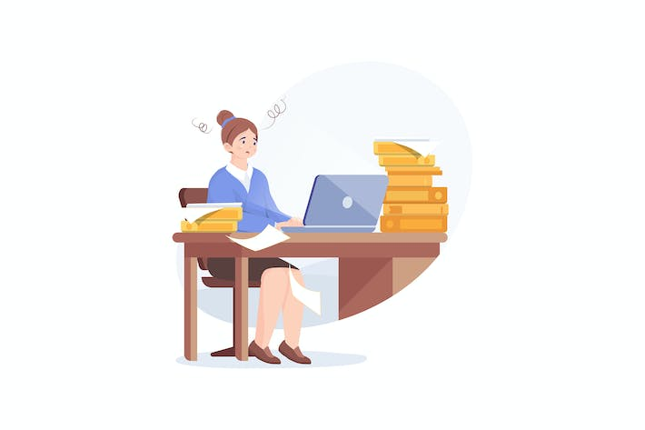 Thumbnail for Tired young woman working on her laptop
