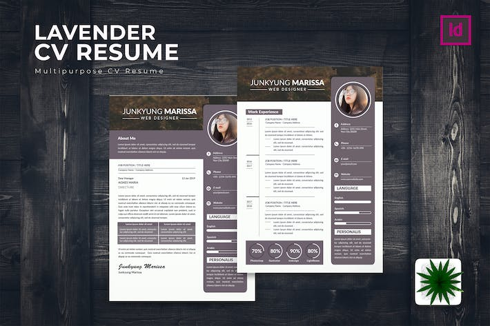 Thumbnail for Lavender CV Resume Template