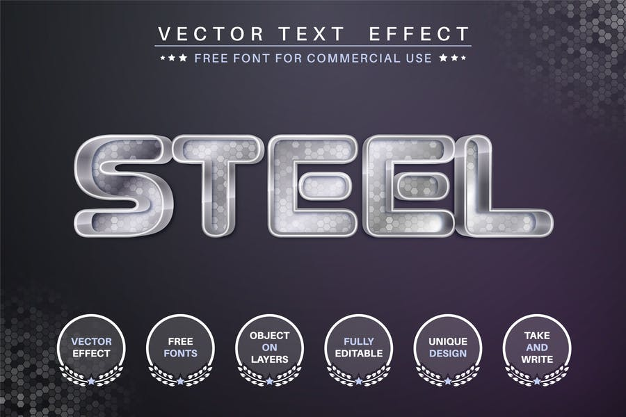 Steel editable text effect, font style