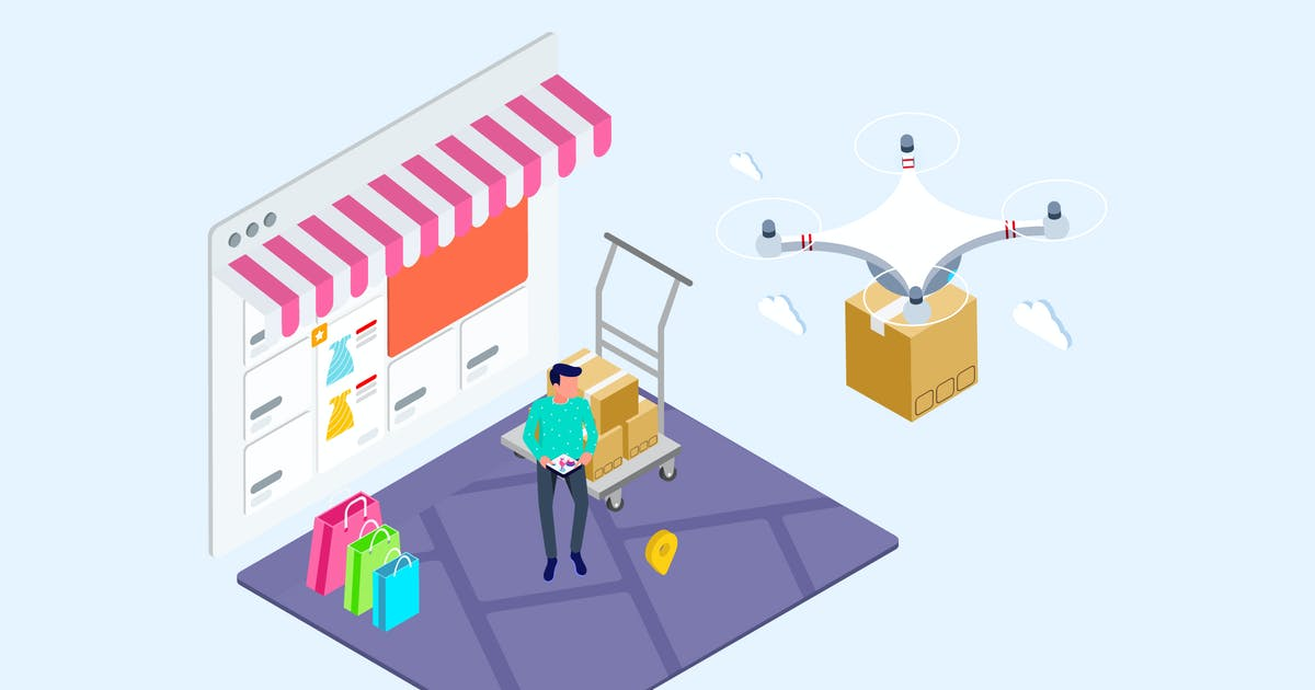 Download Drones Delivery Isometric Illustration - T2 by angelbi88