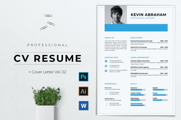 Thumbnail for Professional CV Resume Template Vol. 02