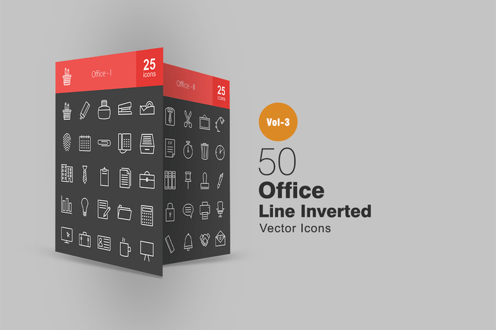 Thumbnail for 50 Office Line Inverted Icons