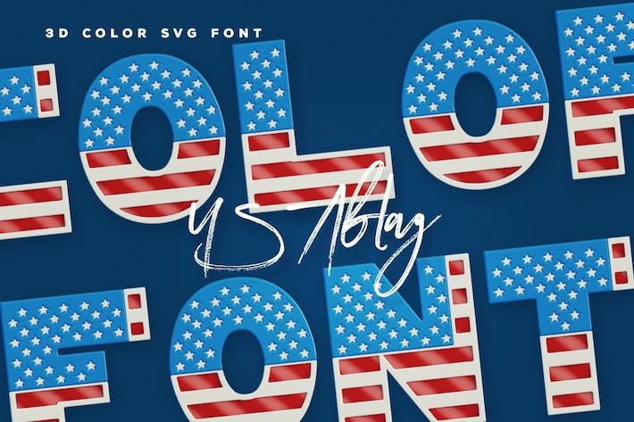 Thumbnail for USA Flag - 3D Color SVG Font