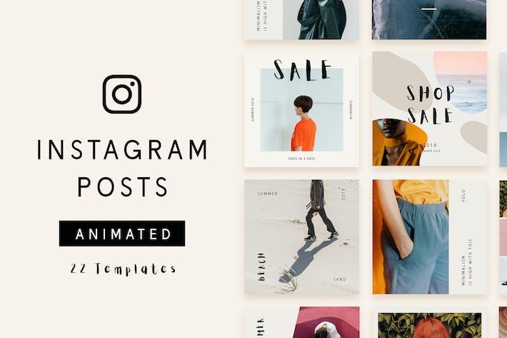 Thumbnail for 22 Animated Instagram Post Templates - Minimalist
