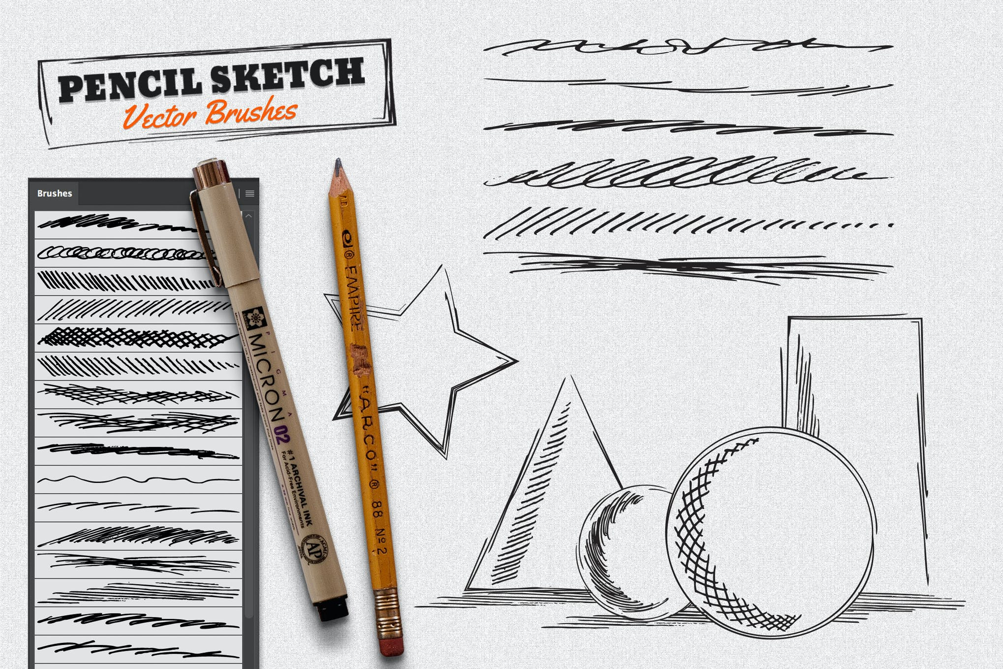 Vector pencil sketch brushes
