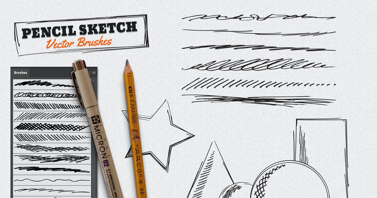 Download Vector Pencil Sketch Brushes by GraphicMonkee